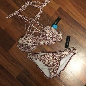 Ambrielle Animal Hipster Bottom & Bandeau Top